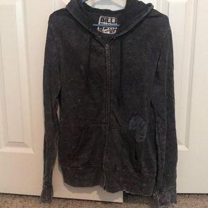 Billabong Gray ZIP Up Hoodie Hooded Sweatshirt L